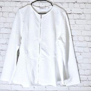 Jackets & Blazers - NWOT XL Isaac Mizrahi white quilted peplum jacket